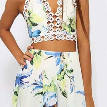 Multicolor Halter Flower Print Tank Top With Shorts