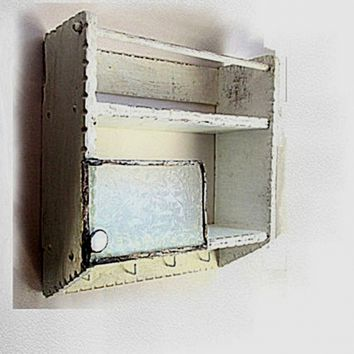 White shabby wood spice rack