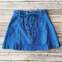 Blue Lace Up Denim Skirt