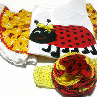 Baby Girl Outfit - Baby Girl Clothes, Ladybugs for Baby Girl, Ladybug,Baby Bloomers and Ladybug Shirt.Girls Birthday Outfit, Peapodlilfrogs