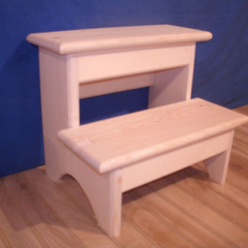 "Rustic wooden step stool, 2 step wooden step stool, wooden stool,wooden bench, bedroom step stool unfinished 12"" tall"