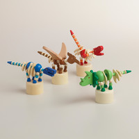 Wooden Dinosaur Push Puppets, Set of 4 - World Market