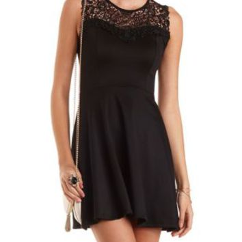 Embroidered Lace Yoke Skater Dress by Charlotte Russe - Black