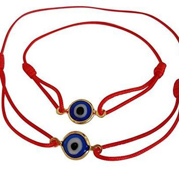 Lucky Charms USA Red Mommy and Me Set of 2 Sliding Knot Evil Eye Bracelet for Protection Mal De Ojo