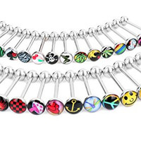 CrazyPiercing 30 PCS 316 surgical Steel Tongue rings Bars barbells body piercing Funny Nasty Wording Logo