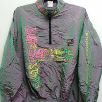 Sale Vintage 1980s Surf Style Interplanetary Body Gear Windbreaker Neon Hip Hop Nylon Jacket