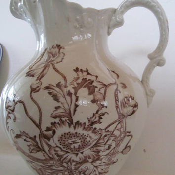 Rare Antique Victorian Pitcher Large Water Pitcher Rare Brown Transferware Pitcher Victorian Asthetic Movement Bathroom Decor Bedroom Decor