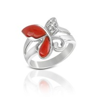 Del Gatto Designer Rings Diamond and Red Coral Butterfly 18K Gold Ring