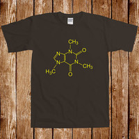 Caffeine Molecule T shirt Coffee Chemistry Science Geek Tee Periodic Humor Nerd Joke Gag Cool Awesome Laboratory Hipster Brown Cup Of Joe