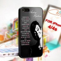 Audrey Hepburn quotes pink On Hard Cover For iPhone 4,4S