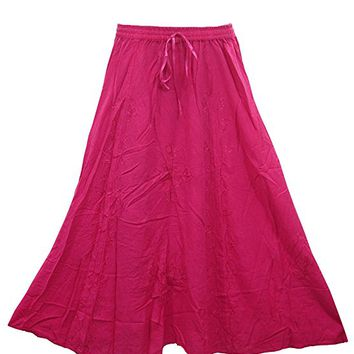 Mogul Interior Emelda Womans Peasant Skirt Rayon Floral Embroidered Pink Boho Flirty Long Skirts L