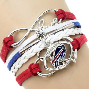 USA Football Team Logo Bracelet Hand-Made Buffalo Bills infinity Multi-layer Woven Bracelet for DIY jewelry
