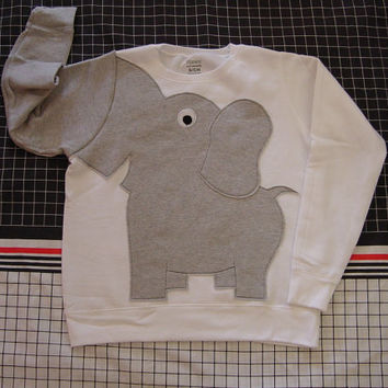 Elephant sweater, elephant Trunk shirt, trunk sleeve, elephant sweatshirt, elephant jumper UNISEX XLarge white