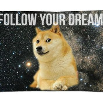 "Space Doge Follow Your Dreams Rectangle Pillowcase Covers Standard Size 16""x24"""