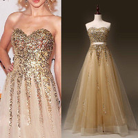 Women's Sexy Formal Long  Dress Party Prom Bridesmaid Strapless Ball Gown dress