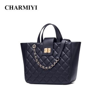 CHARMIYI Brand Women Leather Tote Bag Large Capacity Designer Handbag for Women Fashion Solid Shoulder Bag Luxury Crossbody Bags