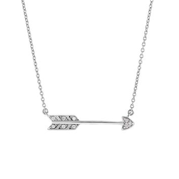 Silver Rhodium Finish  5-1.3mm Shiny Sideways Arrow Anchor On 1.3mm Oval link Necklace with LOBSTER Clasp+0.09ct Faceted Diamond