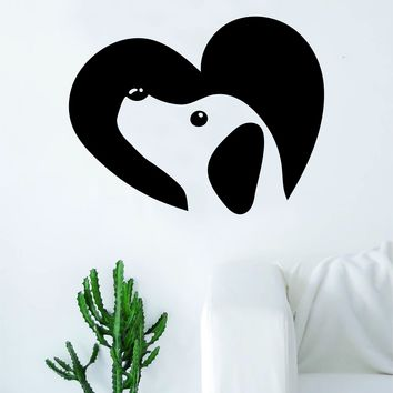 Dog Heart Decal Sticker Wall Vinyl Art Home Room Decor Decoration Animal Pet Teen Adopt Rescue Puppy Doggy Cute Love
