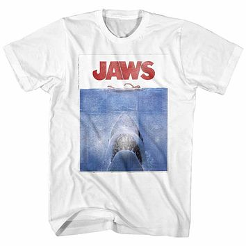 Jaws Tall T-Shirt Distressed Movie Poster White Tee