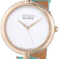 "Citizen Women's EM0253-20A ""Silhouette"" Rose Gold-Tone Watch with Blue Leather Strap"