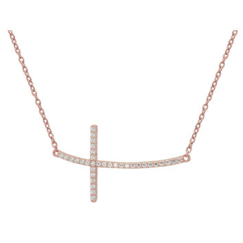 """Rose Gold Plated Sterling Silver Sideways Cubic Zirconia Cross Pendant Necklace 16"""""""
