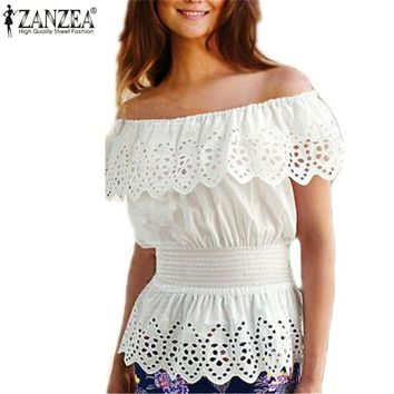 Women's White Eyelet Off The Shoulder Blouse With Sexy Ruffles and Elastic Waist.   In Sizes From Small to XL.   ***FREE SHIPPING***