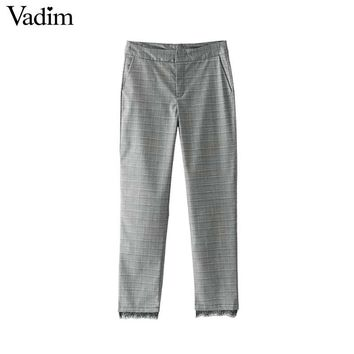 Vintage hounds tooth plaid pants lace patchwork pockets ladies casual ankle length trousers