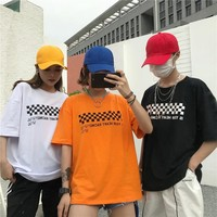 2018 BF Oversize Tee New Style Hiphop Tshirt Letter Lattice print T-shirt Black White Harajuku Style Lovers Top Casual Lo