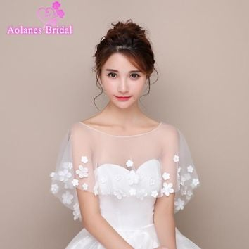 High Quality Off White Ivory 2017 Tulle with Appliques Scoop Neck Bridal Wedding Bolero Jacket Wedding Lace Shrug Cape Shawl