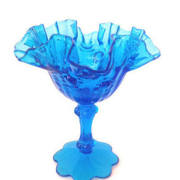 Vintage Fenton Art Glass Comport Rose Pattern in  Colonial Blue