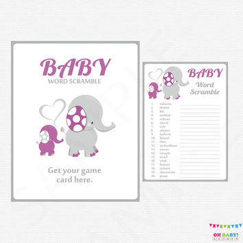 Elephant Baby Shower Games, Purple and Gray Baby Word Scramble Game, Baby Shower Girl, Instant Download, Printable Baby Shower Download ELPG