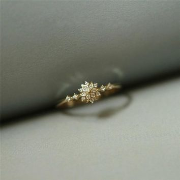 ROMAD Cute Women's Snowflake Rings Female Chic Dainty Rings Party Delicate Rings Wedding Jewelry R4
