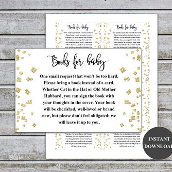 Gold Baby Shower Bring a Book Instead of a Card Book Request Baby Library Printable Baby Shower Invitation Insert (v35t) Instant Download