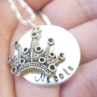 Princess Necklace Tiara crown Hand stamped Girl necklace Personalized jewelry Custom necklace