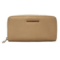 Zip Around Vegan Wallet in Beige