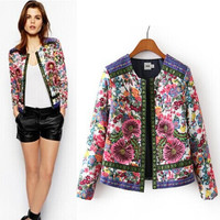 Vintage Floral Embroidery Print Cotton Padded Thicken Jacket [5012997444]
