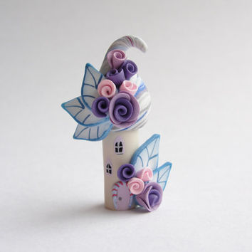 Little house in blue pink and purple polymer clay by fizzyclaret