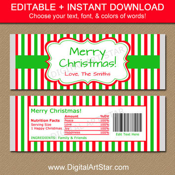Christmas Candy Bar Wrappers - EDITABLE Christmas Candy Wrappers - Personalized Holiday Gift, Stocking Stuffers - Christmas Party Favors CSV