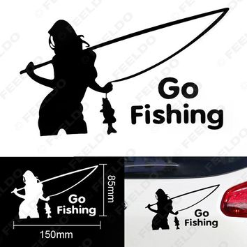 100Pcs Cool Sexy Girl Go Fishing Car Sticker Reflective Tape Waterproof Decals Auto Decoration Sticker #FD-1805