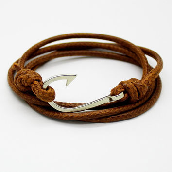 New Fashion Retro Leather Bracelets for men Popular Charismatic Personality bandages Toggle-clasps Anchor bracelets brown.