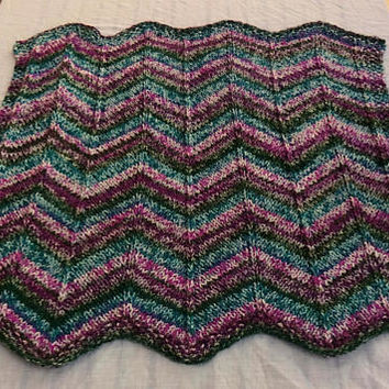 Baby Blanket, Knit Chevron Blanket, Crib or Stroller Blanket, Car Seat Cover, Play Mat, Baby Bedding, Teal Blue, Purple, Green, Pink, Shower