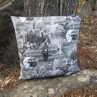 "Spooky Black and White Pillow Covers / Set of Two / 20""x20"" / Halloween."