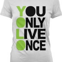You Only Live Once, YOLO Juniors T-shirt, Hot Trendy Lyrics Oversized Y.O.L.O. Design YOLO Junior's Tee Shirt