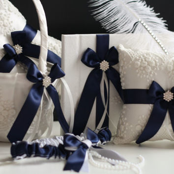 Navy Blue Wedding Basket + Bearer Pillows + Guest Book with Pen + Bridal Garter \ Lace Wedding Pillow + Flower Girl Basket Accessories Set