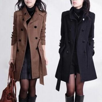 2016 Women's Trench Coat With Good Quality Big Size 4XL XXXL Long/Short Woolen Winter Double-breasted Jackets feminino S2782