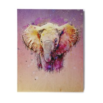 "Ancello ""Watercolor Elephant"" Purple Orange Digital Birchwood Wall Art"