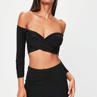 Missguided - Black Slinky Cross Front Crop Top