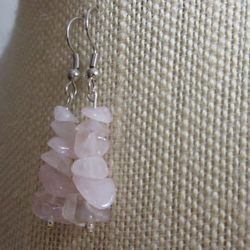 Rose Quartz Earrings, Rose Quartz Chip Beads, Pale Pink Earrings, Pink Stone Earrings, Valentine Gift