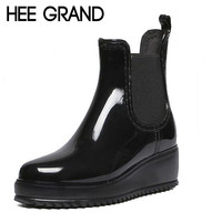 Women's Rainning Shoes Rainny Rubber Boots Women's Wedges Heel Rainboots Height Increasing  Waterproof Ankle Boots XWX4387