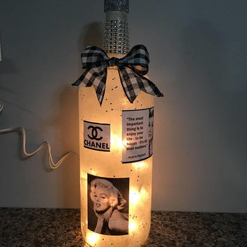 Coco Chanel Audrey Hepburn Marilyn Monroe Wine Bottle Lamp